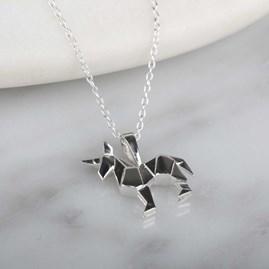 Stunning Silver Origami Unicorn Necklace