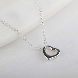 Children's Solid Silver Open Heart Pendant
