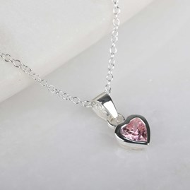 Children's Silver Pink Crystal Heart Pendant