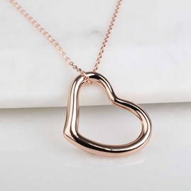 Rose Gold Open Heart Charm Necklace