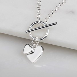 Solid Silver Double Heart Charm Necklace