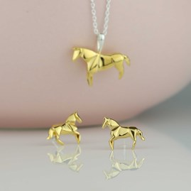 Stunning Gold Origami Horse Earrings