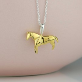 Stunning Rose Gold Origami Horse Necklace