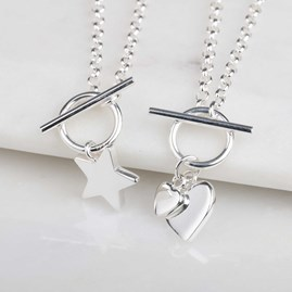 Solid Silver Star Charm Necklace