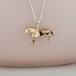 Stunning Gold Origami Horse Necklace