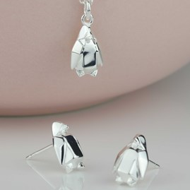 Stunning Gold Or Silver Origami Penguin Earrings