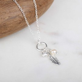 Falling Feather Silver Necklace