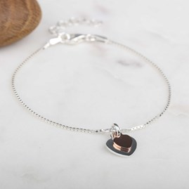 Silver And Rose Gold Twin Heart Charms Bracelet