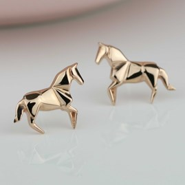 Stunning Rose Gold Origami Horse Earrings