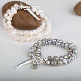 Twin Freshwater Pearls And Silver Bracelet
