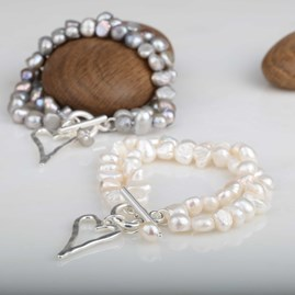 Twin Freshwater Pearls And Silver Heart Bracelet