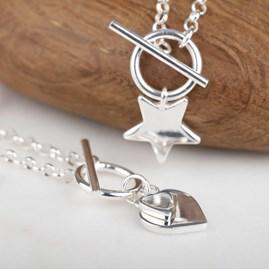 Solid Silver Double Heart Charm Bracelet