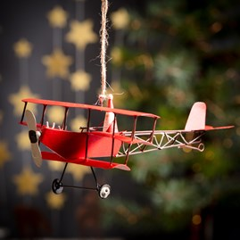 Santa In His Red Tri Plane Hanging Decoration