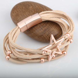 Suede Bracelet With Beads And Silver Star