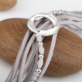 Suede Bracelet With Beads And Silver Circle