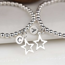 Personalised Silver Star Friendship Bracelet