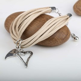 Twin Silver Hearts And Suede Bracelet