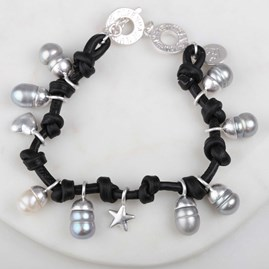 Leather, Freshwater Pearl And Agate Silver Bracelet