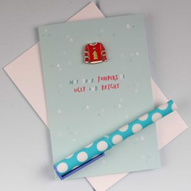 Christmas Jumper Enamel Pin And Card