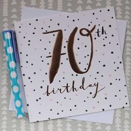 '70th Birthday' Rose Gold Luxe Birthday Card
