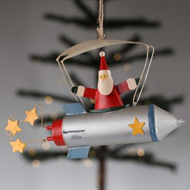 Father Christmas In A Rocket