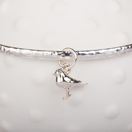 Personalised Hammered Bangle with Baby Robin Charm