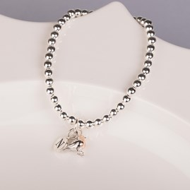 Personalised Baby Robin Solid Silver Bead Bracelet