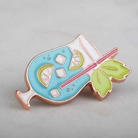 'Mojito O'clock' Glass Enamel Pin And Card