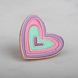 'Love Heart' Enamel Pin And Birthday Card