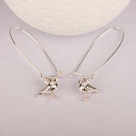 Solid Silver Baby Robin Earrings