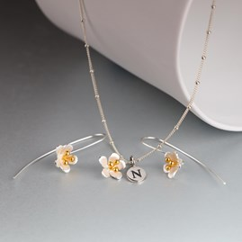 Personalised Solid Silver And Gold Saxifrage Necklace