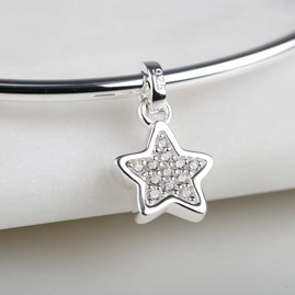 Sterling Silver Sparkly Star Bangle