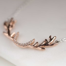 Rose Gold Stag Antler Necklace