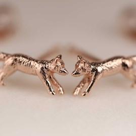 Rose Gold Fox Stud Earrings