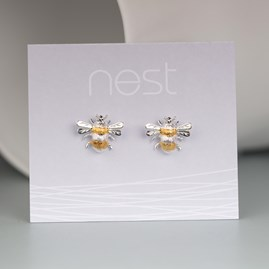 Solid Silver And Gold Bumble Bee Earrings