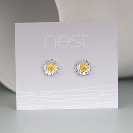 Solid Silver And Gold Daisy Earrings