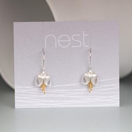Solid Silver And Gold Dicentra Earrings