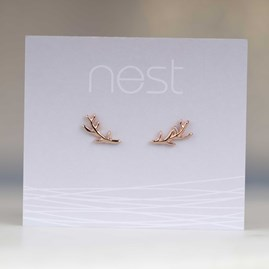 Rose Gold Stag Antler Stud Earrings