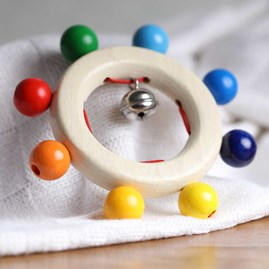 Wooden Baby Rattle Rainbow Beads And Bell