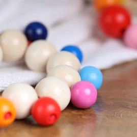 Wooden Baby Rattle With Bobbly Beads