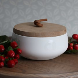 Porcelain And Acacia Wood Storage Jar Small