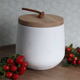 Porcelain And Acacia Wood Storage Jar Medium