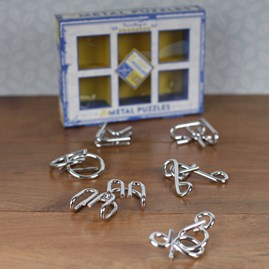 Brain Busting Puzzles Set Of Metal Teasers
