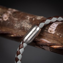 Men's Leather And Cord Bracelet