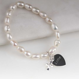 Children's Personalised Pearl Christening Bracelet
