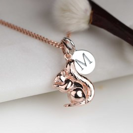 Personalised Squirrel Necklace Rose Gold