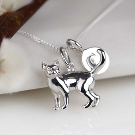 Personalised Solid Silver Cat Necklace