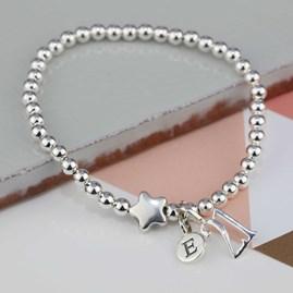 Personalised Jess Silver Star Bracelet