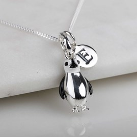 Personalised Solid Silver Penguin Necklace