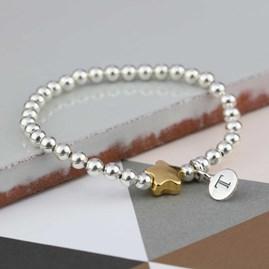 Personalised Tess Gold Star Bracelet